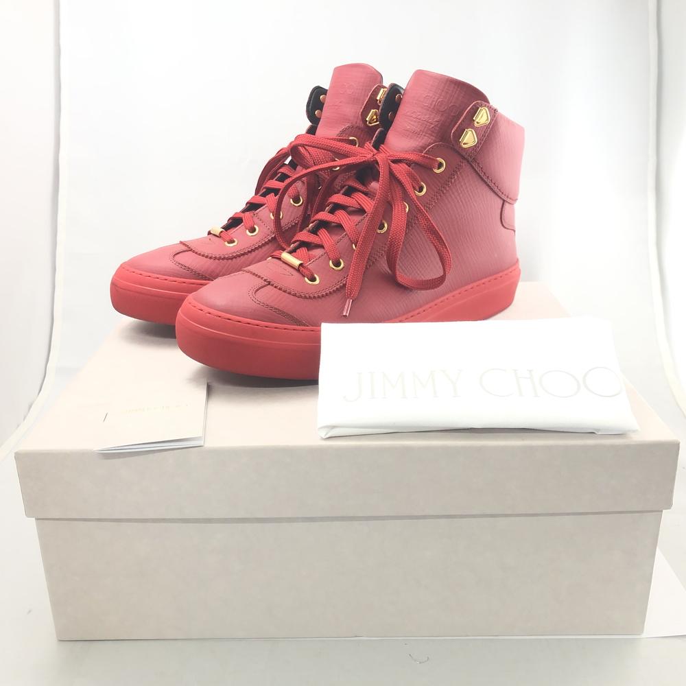 【中古】【メンズ】【付属品あり】JIMMY CHOO ARGYLE 42 GMF 162 RUSSIAN RED ジミーチュウ アーガイル ロシアンレッド スニーカー SNEAKER 靴 くつ イタリア製 ハイカット カーフスキン ラグジュアリー サイズ:42 カラー:ホワイト 白 万代Net店