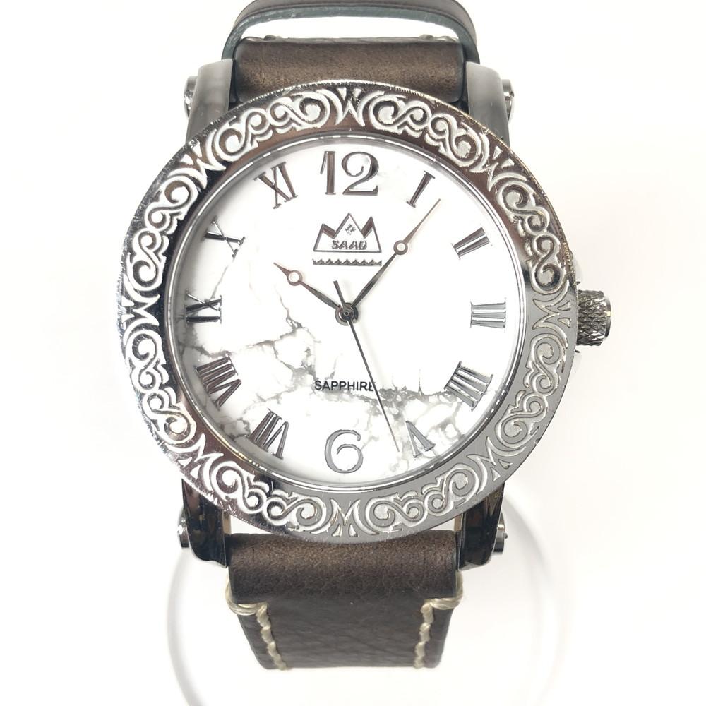 【中古】【メンズ】【付属品有り】SAAD サード MJS51-043 腕時計 ウォッチ アメカジ バイカー インディアンジュエリー ネイティブジュエリー カラー:シルバー/ブラウン ケースサイズ:H5cm W4.5cm D1cm 万代Net店