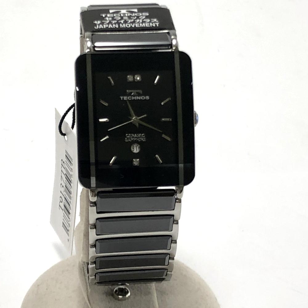 【中古】【メンズ】【付属品あり】TECHNOS テクノス クロノグラフ 腕時計 watch 型番:T9137TB カラー:ブラック 万代Net店