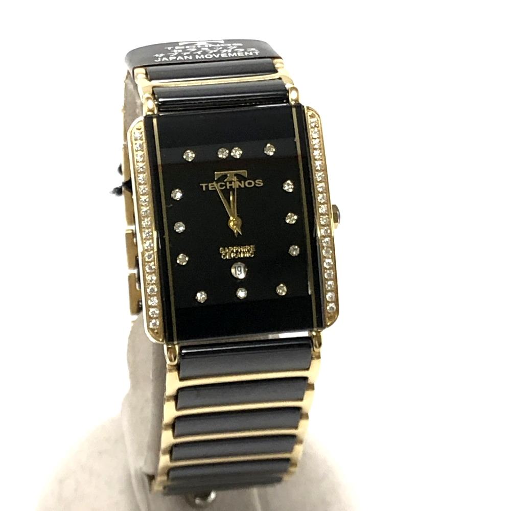 【中古】【メンズ】【付属品あり】TECHNOS テクノス セラミックサファイア クオーツ  型番:T9557GB カラー:ブラック×ゴールド 万代Net店