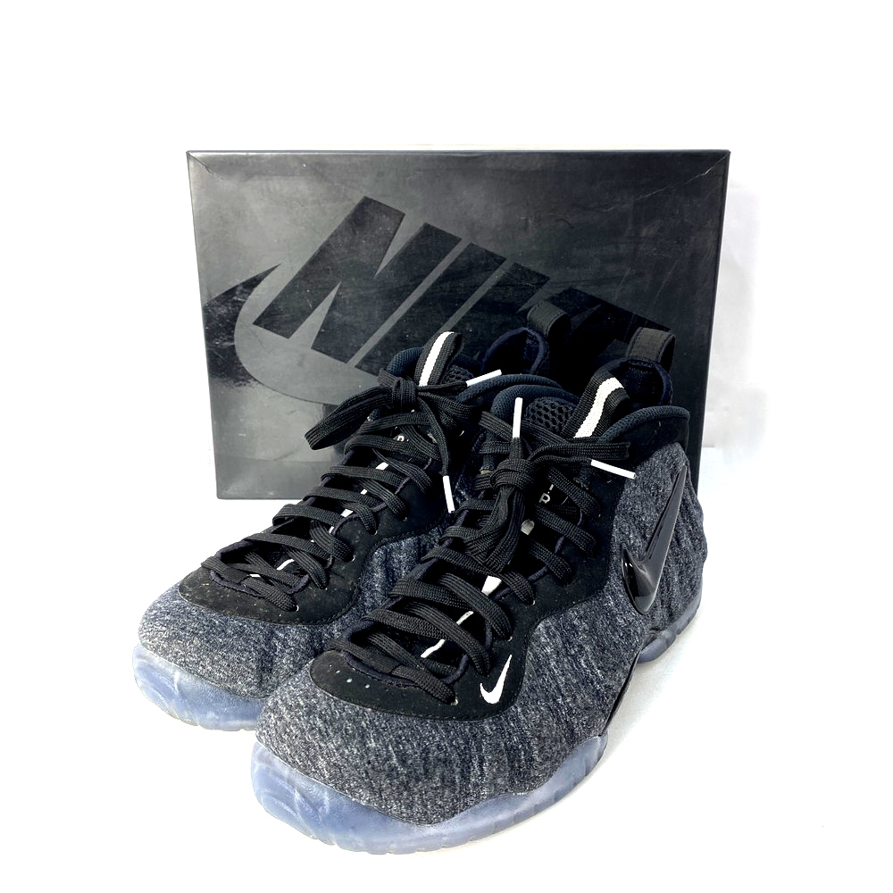"""【中古】【メンズ】【付属品あり】NIKE ナイキ """" AIR FOAMPOSITE PRO エアフォーム ポジット プロ FLEECE """" SNEAKERS スニーカー SHOES シューズ 靴 くつ 品番:624041-007 サイズ表記:27.0cm カラー:DARK GREY HEATHER/BLACK-BLACK 万代Net店"""