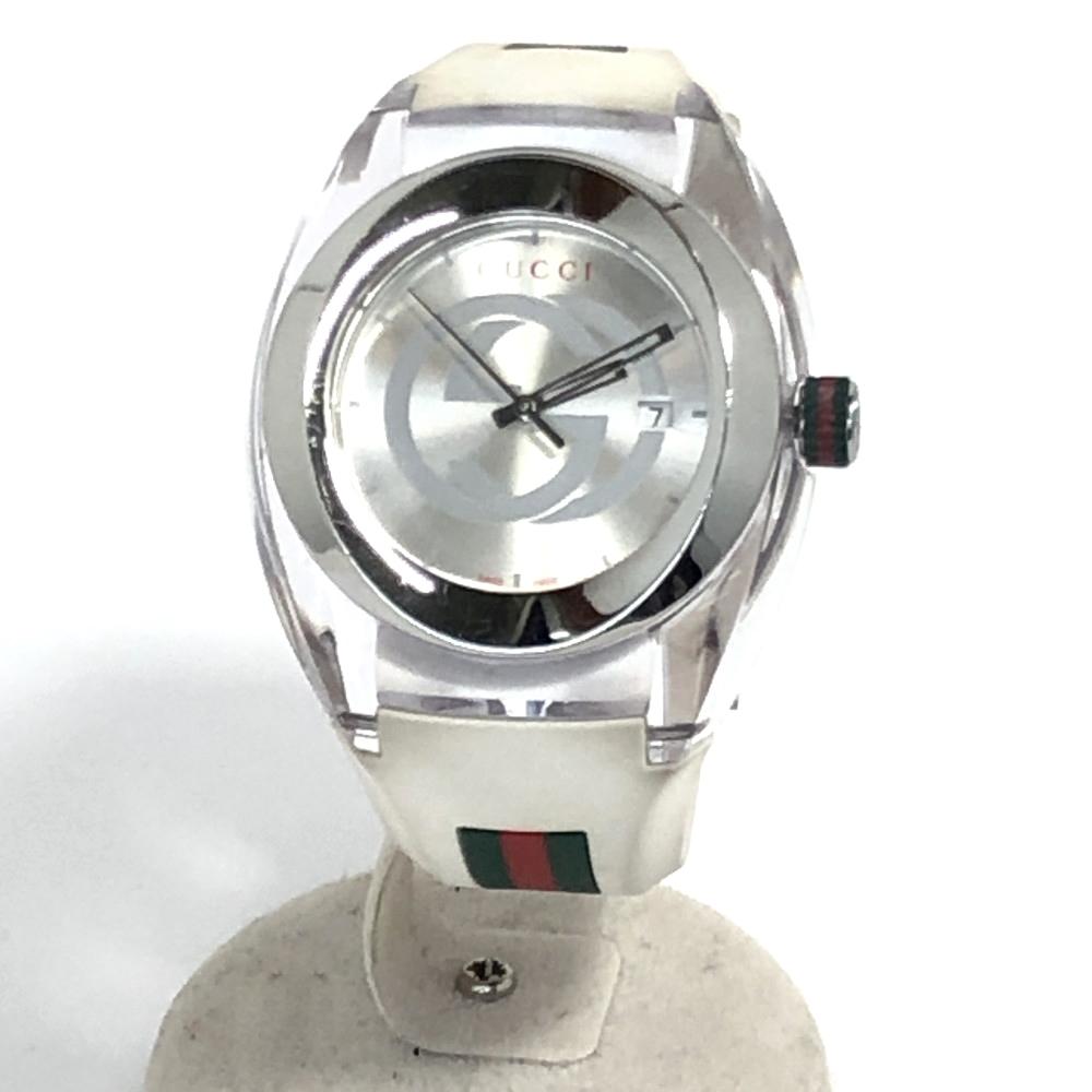 【中古】【メンズ】【付属品あり】GUCCI グッチ ラバーベルト 腕時計 ウォッチ 時計 品番:YA137102A カラー:WHITE ホワイト系 ケースサイズ:H4cm/W4cm/D1.8cm 万代Net店