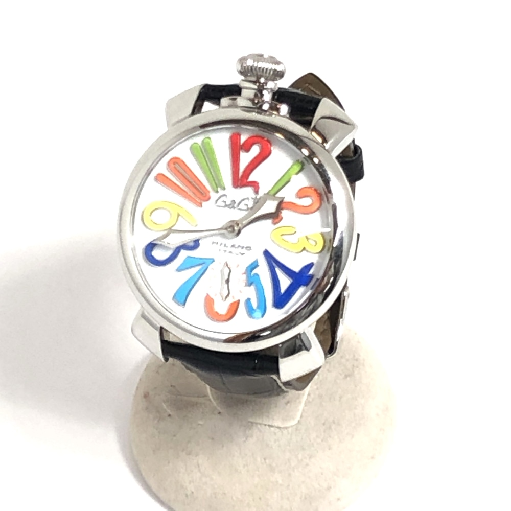 【中古】【メンズ】【付属品あり】GaGa MILANO ガガ ミラノマヌアーレ 腕時計 ウォッチ 時計 品番:5010.01S カラー:WHITE ホワイト ケースサイズ:H5cm/W5cm/D1cm 万代Net店