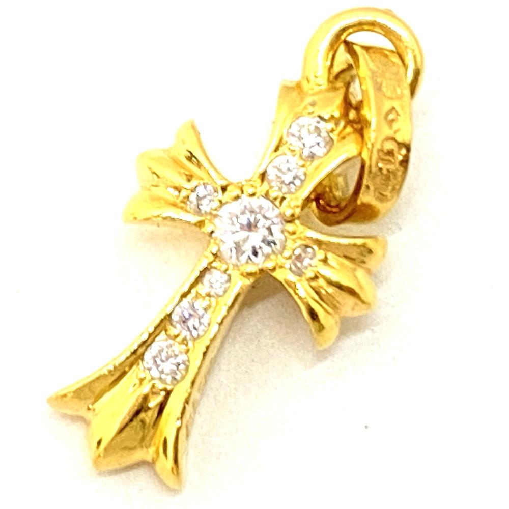 【中古】【メンズ】【付属品あり】CHROME HEARTS クロムハーツ K22 ベビーファットチャーム パヴェダイヤモンド ネックレス アクセサリー カラー:ゴールド GOLD 万代Net店
