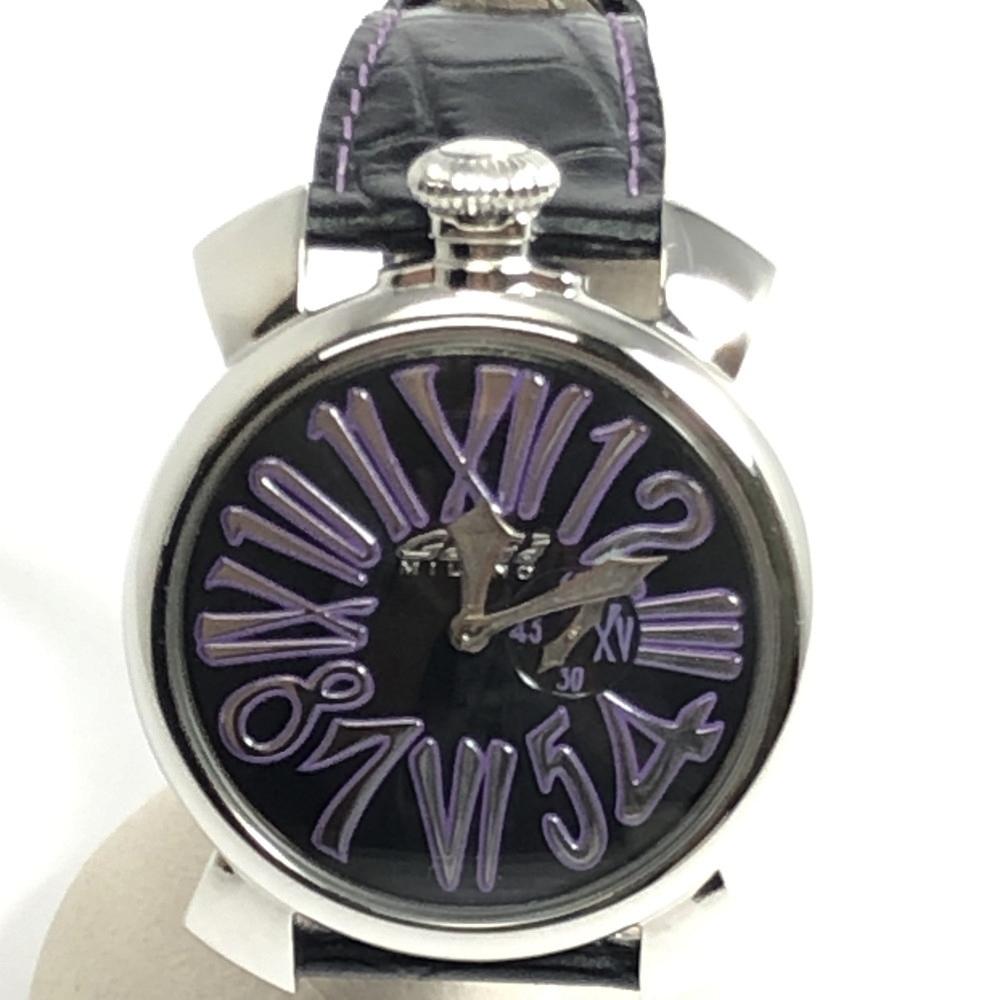 【中古】【メンズ・レディース】【付属品有り】GaGa MILANO ガガ ミラノSLIM46MM 腕時計 ウォッチ 時計 Ref:5084.1 ケースサイズ (H×W×D):52×46×8mm カラー:BLACK×SILVER ブラック×シルバー 万代Net店