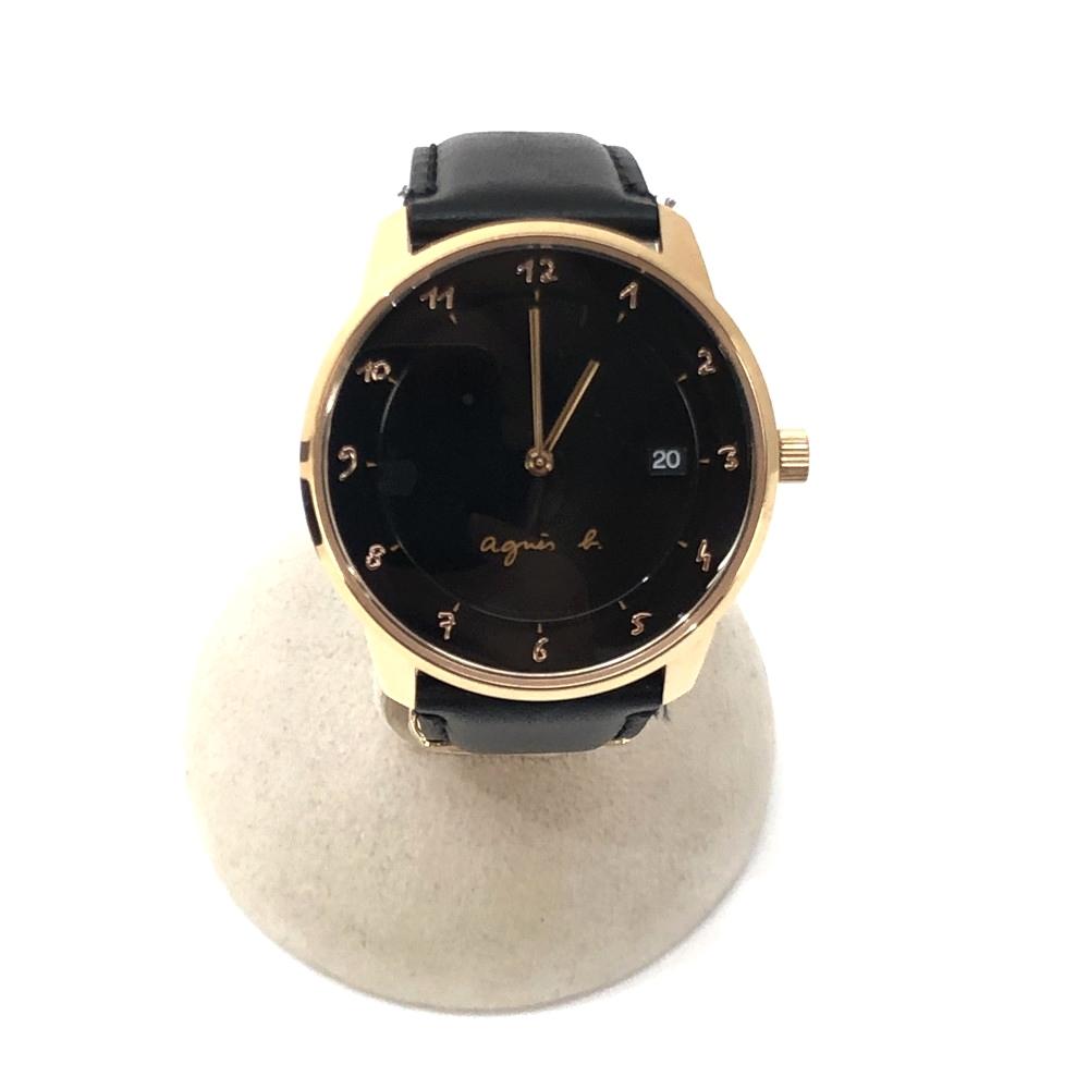 【中古】【メンズ】【付属品あり】agnes.b アニエスベー QUARTZ クォーツ 腕時計 Watch ウォッチ 品番: vj42-K30 ケースサイズ (H×W×D): 41×48×8mm カラー:BLACK ブラック 万代Net店