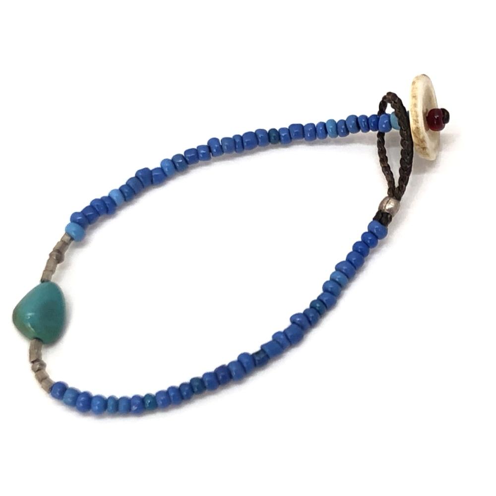 【中古】【メンズ】RORAN Afghanistau Glass Silver Turquoise ブレスレット ハンドメイド アンティーク アクセサリー カラー:BLUE ブルー サイズ:18cm 万代Net店