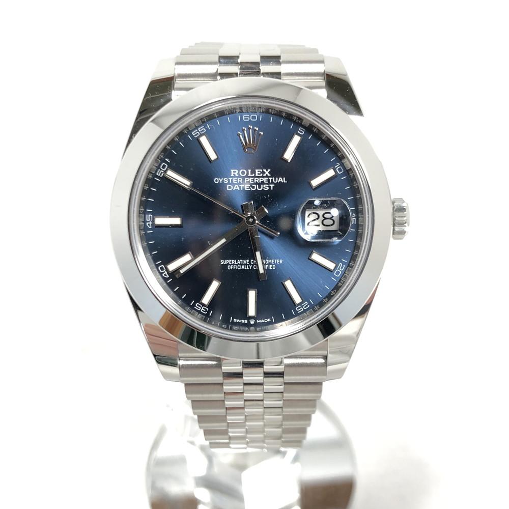 【中古】【メンズ】【付属品あり】ROREX ロレックス デイトジャスト41 腕時計 ウォッチ 自動巻き 青文字盤 3針 REF:126300 カラー:SILVER シルバー 万代Net店