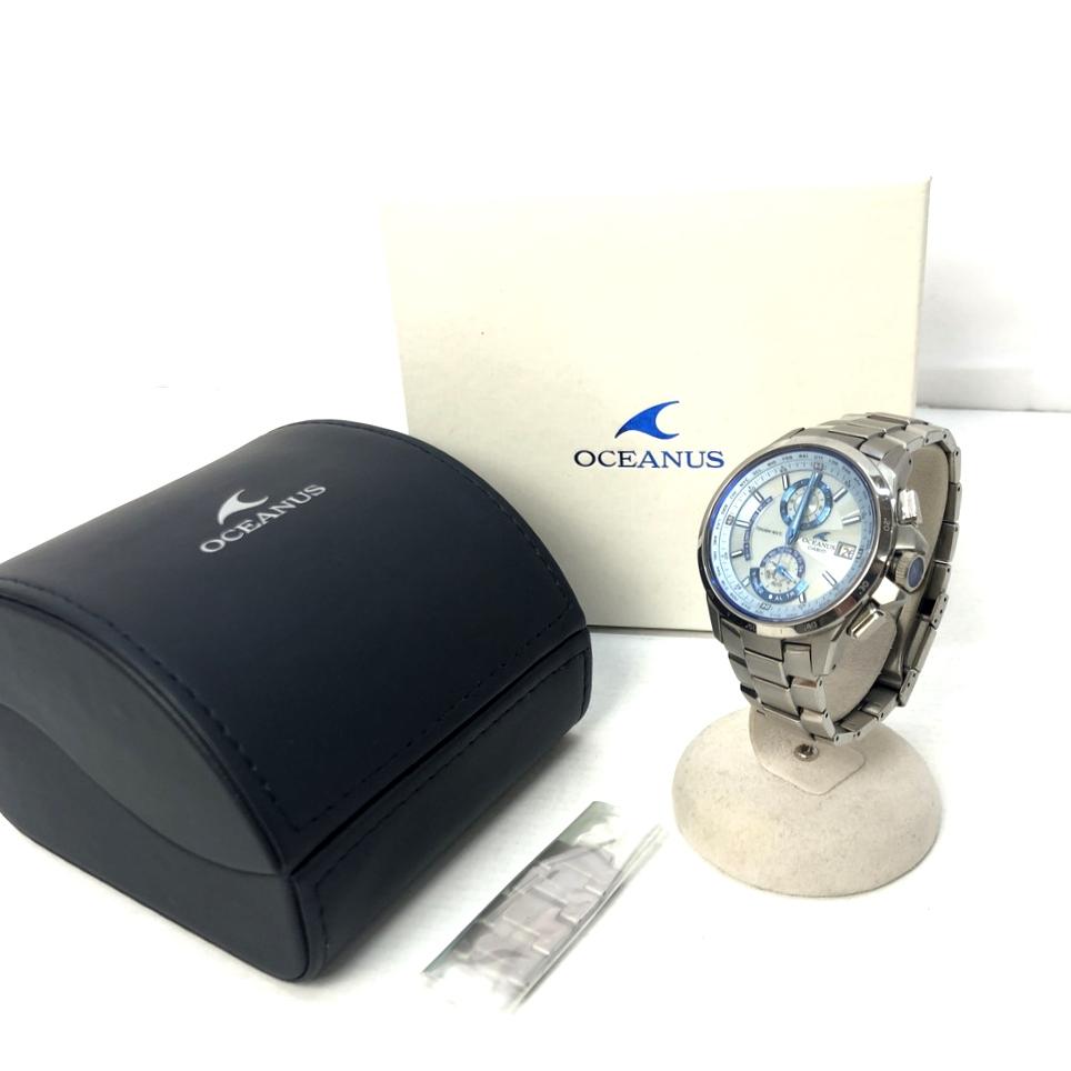 【中古】【メンズ】【付属品あり】OCEANUS オシアナス CASIO カシオ 腕時計 品番:OCW-T1000 カラー:シルバー、SILVER 万代Net店