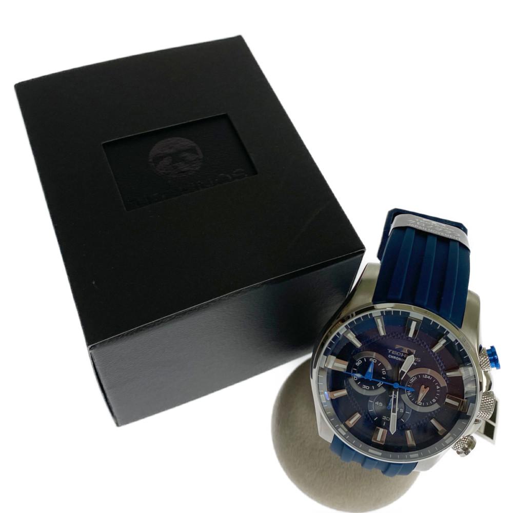 【中古】【メンズ】【付属品あり】TECNOS テクノス クロノグラフ 腕時計 ラバーベルト 型番:T8532SN カラー:ブルー、BLUE 万代Net店