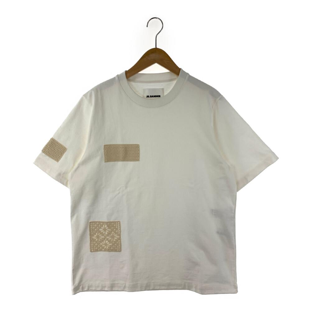 中古 未使用品 メンズ JIL SANDER ジルサンダー T-shirt Tシャツ JSMS707042 サイズ:L パッチ 白 クルーネック イタリア製 MS248508 通販 カラー:ホワイト お気にいる クロッシェ 万代Net店