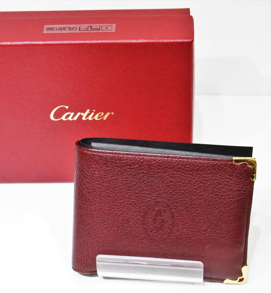 【中古】Cartier カルティエ 二つ折り財布 L3001368 購入店証明書付き