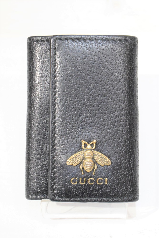 【中古】GUCCI グッチ 523683 キーケース ANIMAL BEE ビー 蜂 無地 NERO ブラック 6連 メタルビー ハチ 万代Net店