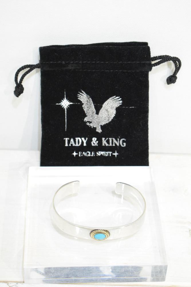 【中古】TADY&KING タディ&キング 金縄ターコイズ 平打ち バングル ブレスレット SV925 K18 メンズ インディアンジュエリー 万代Net店 ネイティブジュエリー