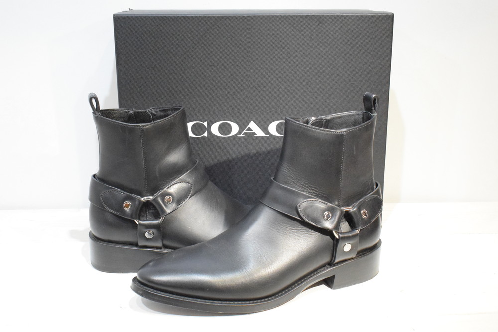 【中古】COACH コーチ LEATHER HARNESS BOOT LTHR レザー ハーネス ブーツ 9.5D サイズ27.5cm メンズ SBその他 万代Net店