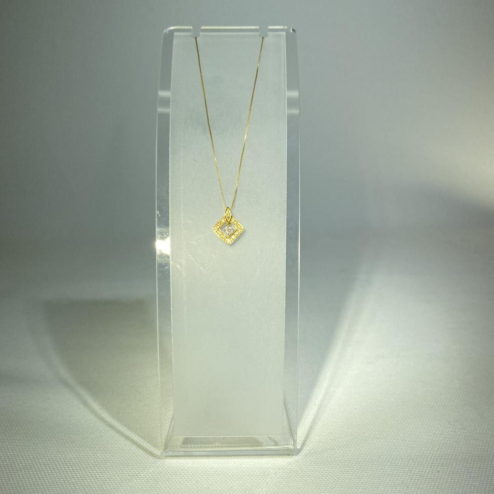 【中古】【美品】K18 ダイヤ付き ネックレス レディース アクセサリー 万代Net店