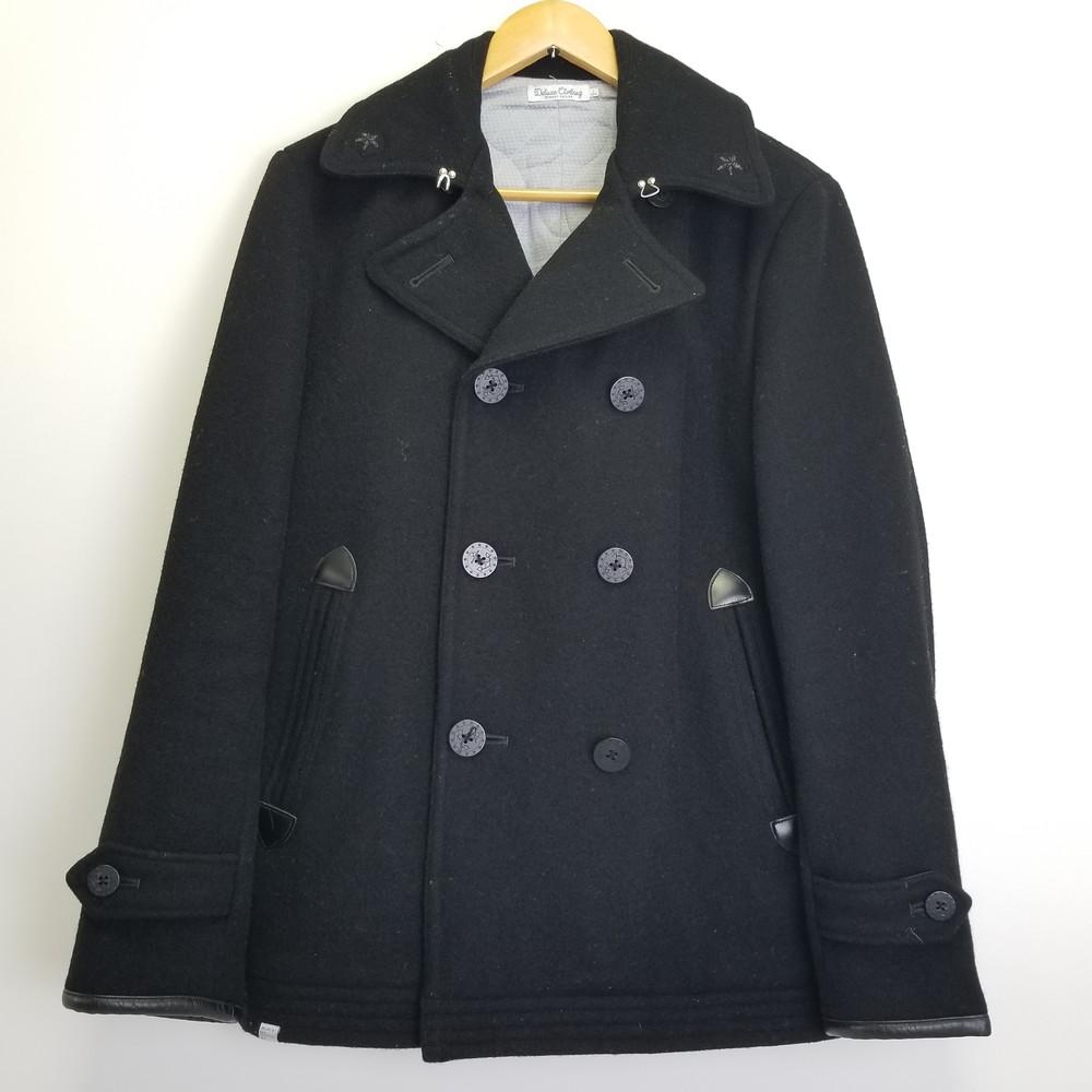 【中古】DELUXE CLOTHING THIRTEEN STARS デラックスクロージング Pコート アウター サイズ:L カラー:BLACK ブラック 黒 メンズ インポート 万代Net店