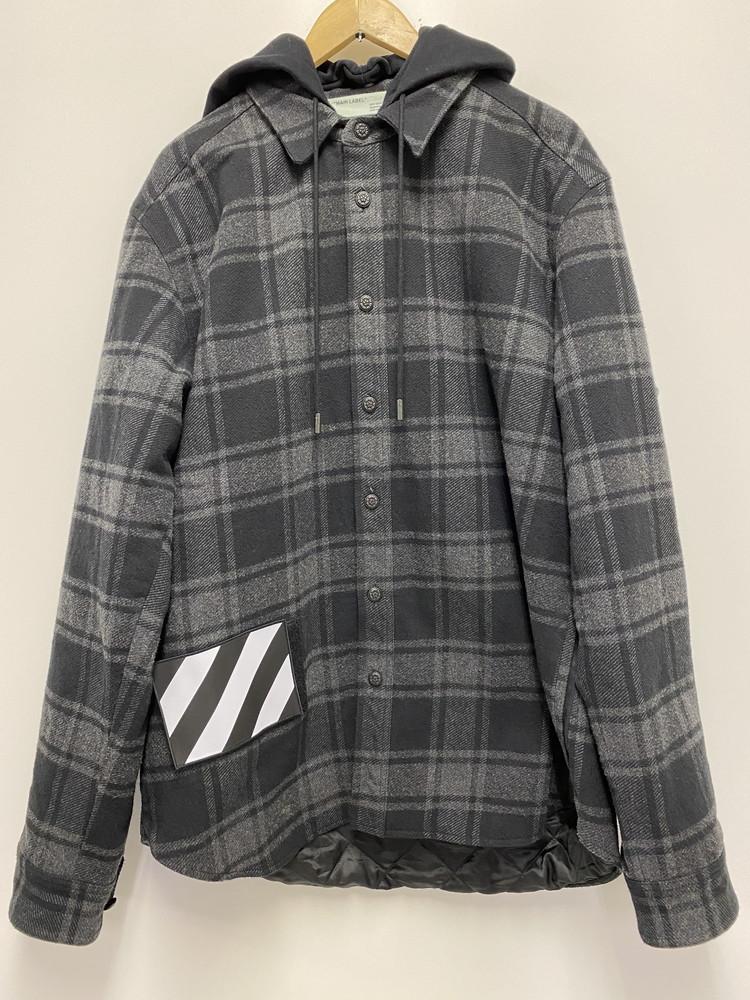 【中古】OFF-WHITE オフホワイト フード付き フランネル チェックシャツ OMGA061E18A27001 サイズL メンズ ストリート 万代Net店