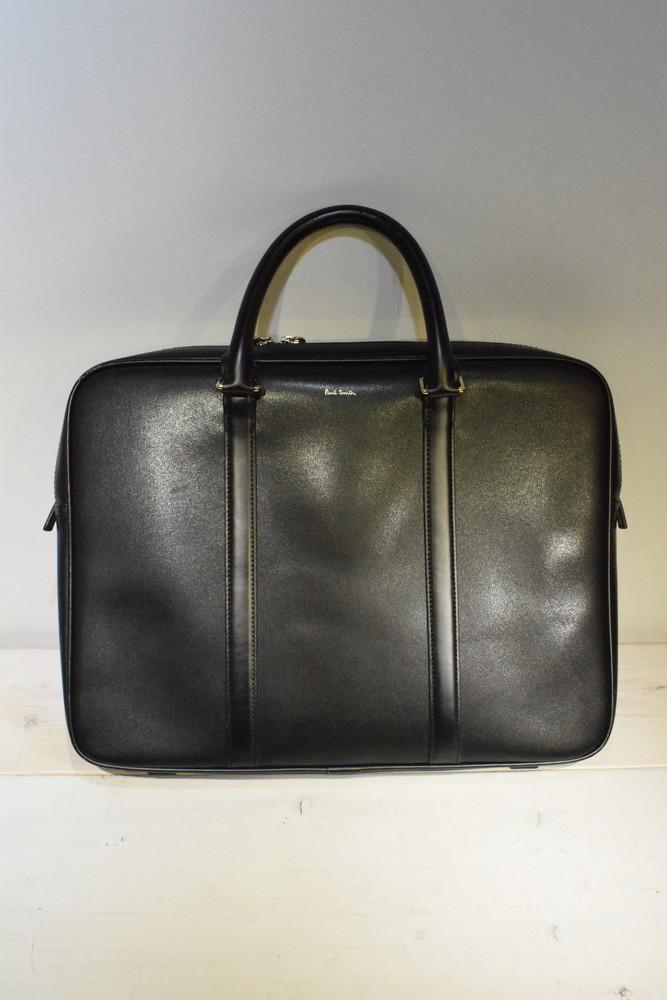 【中古】Paul Smith ポールスミス PSF675 レザーブリーフケース ビジネスバッグ 牛革 ブラック メンズ カバン 万代Net店