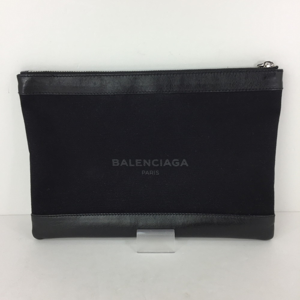 【中古】【メンズ/レディース】BALENCIAGA 17AW ネイビークリップM 373834 バレンシアガ カバン クラッチバッグ サイズ:約22×32×0.5cm カラー:BLACK