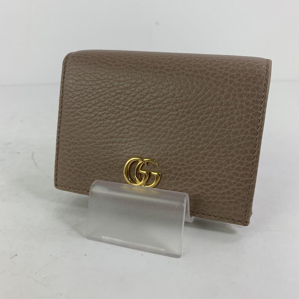 【中古】【レディース】GUCCI プチマーモントレザー コインケース グッチ カードケース 財布 サイズ:約8×11×3cm カラー:BEIGE