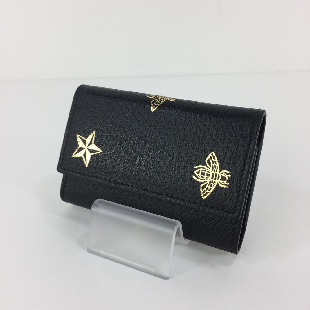 【中古】【メンズ/レディース】GUCCI 19SS BEE & STAR KEYCASE グッチ ビー&スター キーケース サイズ:約7.5×11×1.5cm カラー:BLACK
