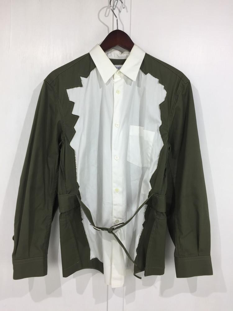 【中古】【メンズ】COMME des GARCONS SHIRT 17SS BELTED CONTRAST SHIRT S25036 コムデギャルソン シャツ コントラストベルトシャツ 長袖シャツ サイズ:S カラー:WHITE/KHAKI 万代Net店