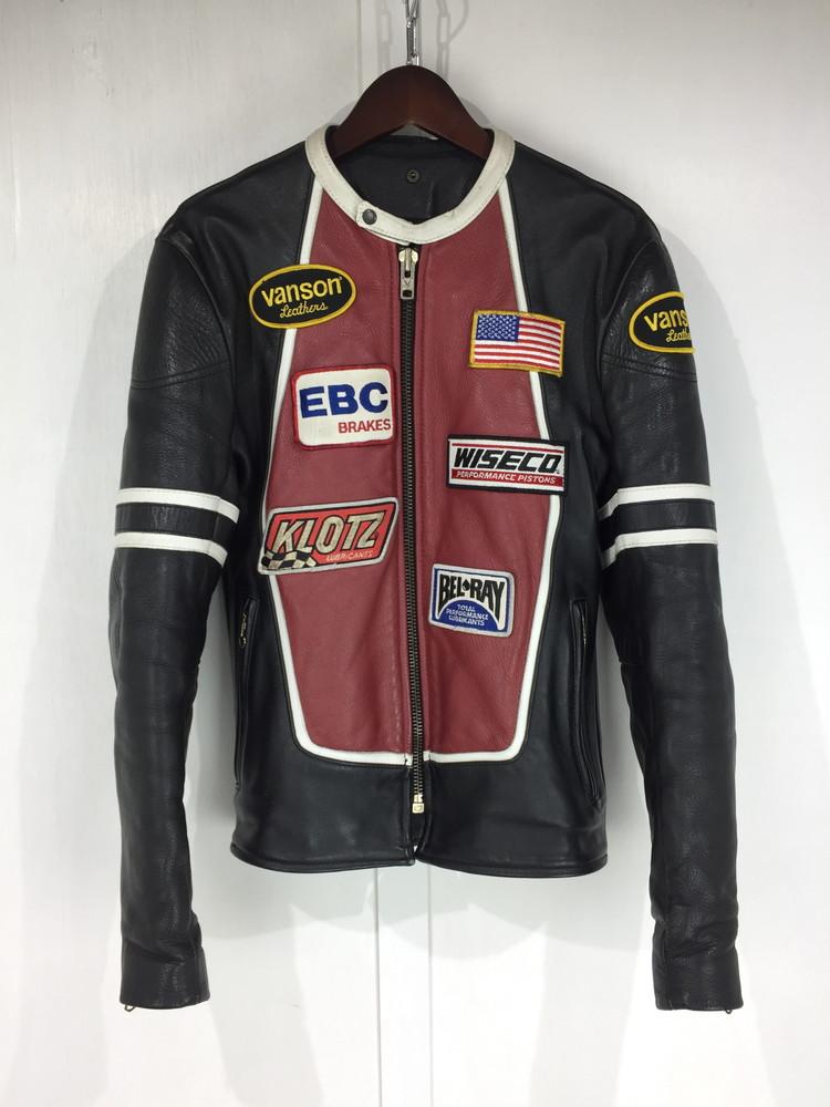 【中古】【メンズ】VANSON RJP RACE JACKET PATCHES バンソン レースジャケット パッチ レザージャケット アウター サイズ:38 カラー:BLACK 万代Net店
