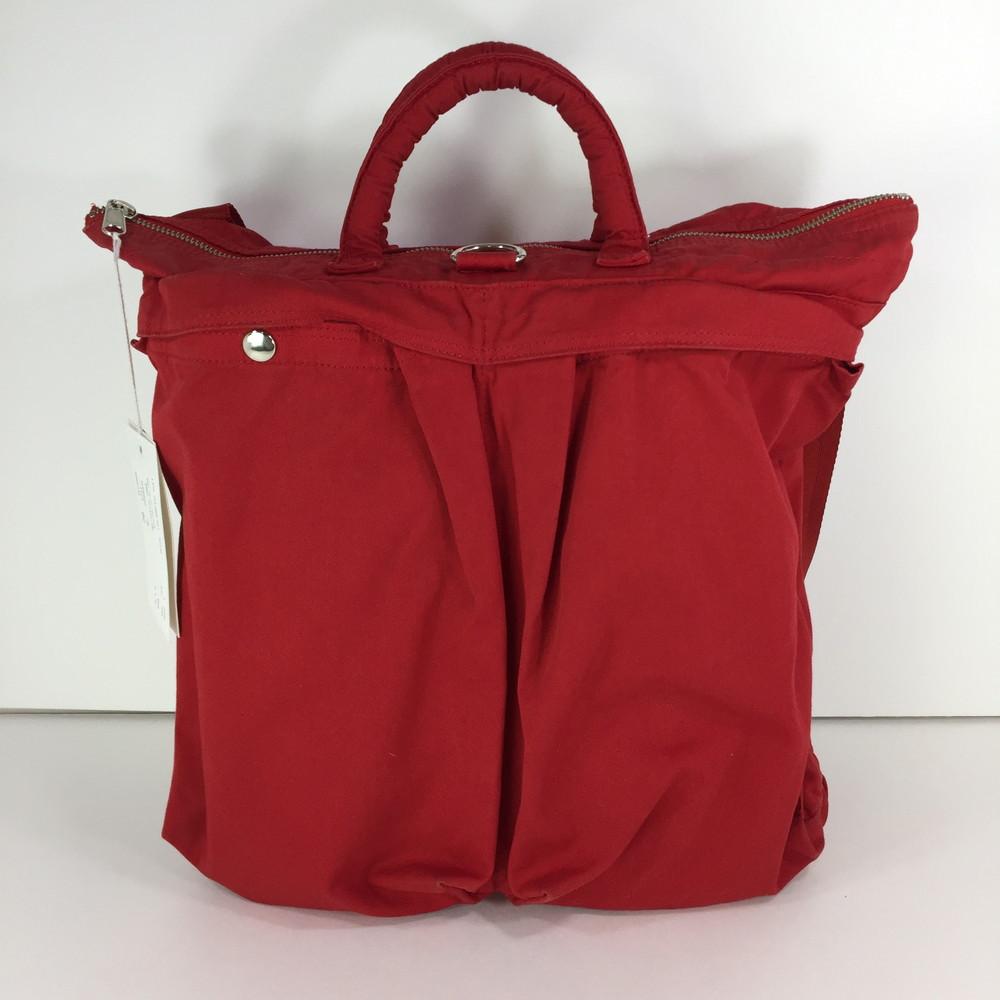 【中古】【メンズ】PORTER × DIGAWEL HELMET BAG DWROB036 ポーター ディガウェル コラボ ヘルメットバッグ 2WAYバッグ カバン サイズ:L 約33×32.5×13cm カラー:RED 万代Net店