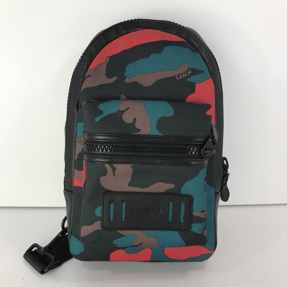 【中古】【メンズ】COACH ブラック × レッドカモフラージュ ボディバック F59901 コーチ カバン サイズ:約34.5×20.5×7cm カラー:MULTICOLLAR 万代Net店