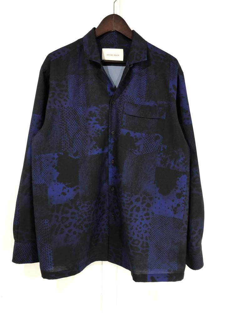 【中古】【メンズ】PSYCHO HEADS 19AW LEOPARD GRAPHIC OPEN SHIRT サイコヘッズ レオパード グラフィック オープンシャツ 長袖シャツ サイズ:M カラー:BLUE 万代Net店