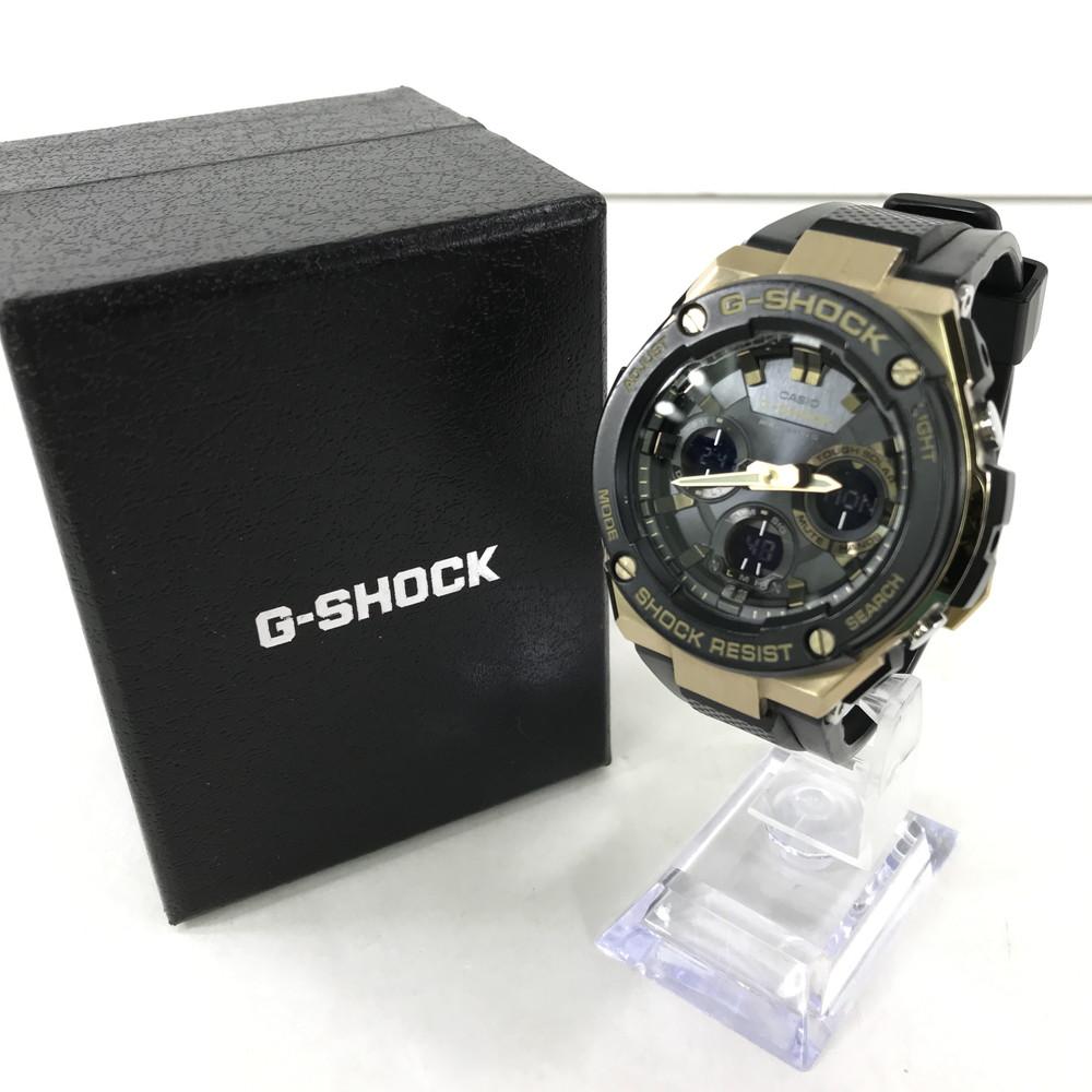 【中古】【メンズ】CASIO G-SHOCK GST-W100G-1AJF TOUGHSOLAR カシオ ジーショック G-STEEL 電波ソーラータフソーラー 腕時計 サイズ:ケース径 約59.1×52.4×16.1mm 腕回り 最大約22.5cm カラー:BLACK/GOLD 万代Net店