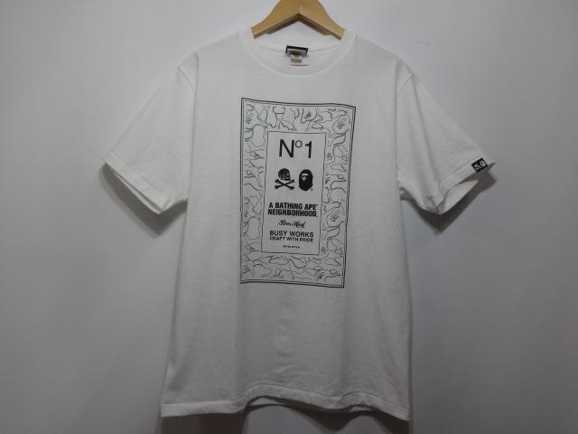 【中古】 A BATHING APE アベイシングエイプ NEIGHBORHOOD ネイバーフッド 17SS TEE パネルロゴTシャツ ホワイト SIZE:M 送料無料