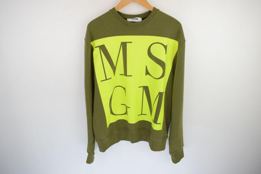 【中古】【メンズ】MSGM エムエスジーエム 20SS GREEN MAXY LOGO SWEATSHIRT グリーン マキシロゴ スウェットシャツ スウェット サイズ:XS カラー:GREEN 型番:2840MM94 万代Net店