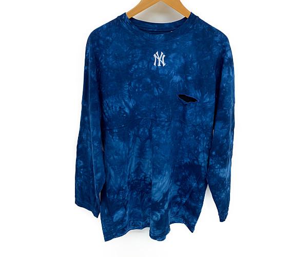 【中古】【メンズ】Charcoal TOKYO×NEWYORK YANKEES チャコール トウキョウ×ニューヨークヤンキース 長袖Tee Tシャツ サイズ:M カラー:BLUE 万代Net店