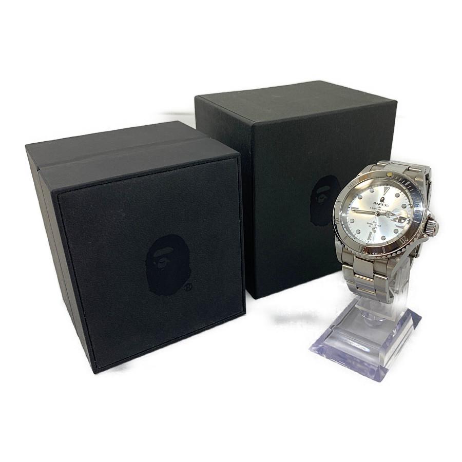 【中古】【メンズ】A BATHING APE ア ベイシング エイプ BAPE X サルマリーナ デイトナ 腕時計 カラー:SILVER 万代Net店