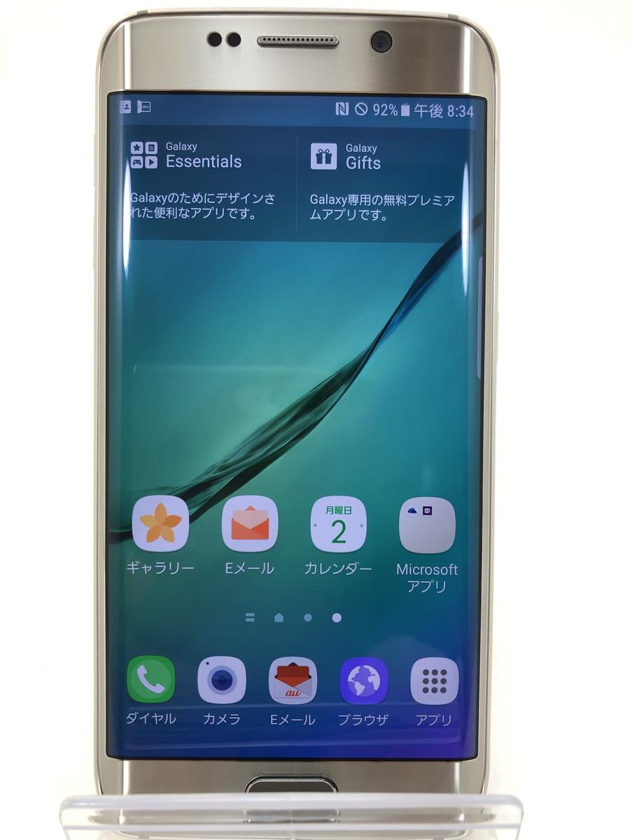 【中古】【SIMロック解除済】 au GALAXY S6 edge SCV31 64GB ゴールド プラチナ サムスン Samsung 本体 端末 中古 【万代Net店】