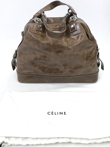 【中古】【メンズ レディース】CELINE セリーヌ レザーハンドバッグ バッグ カラー:ブラウン 型番:CE00/32 万代Net店