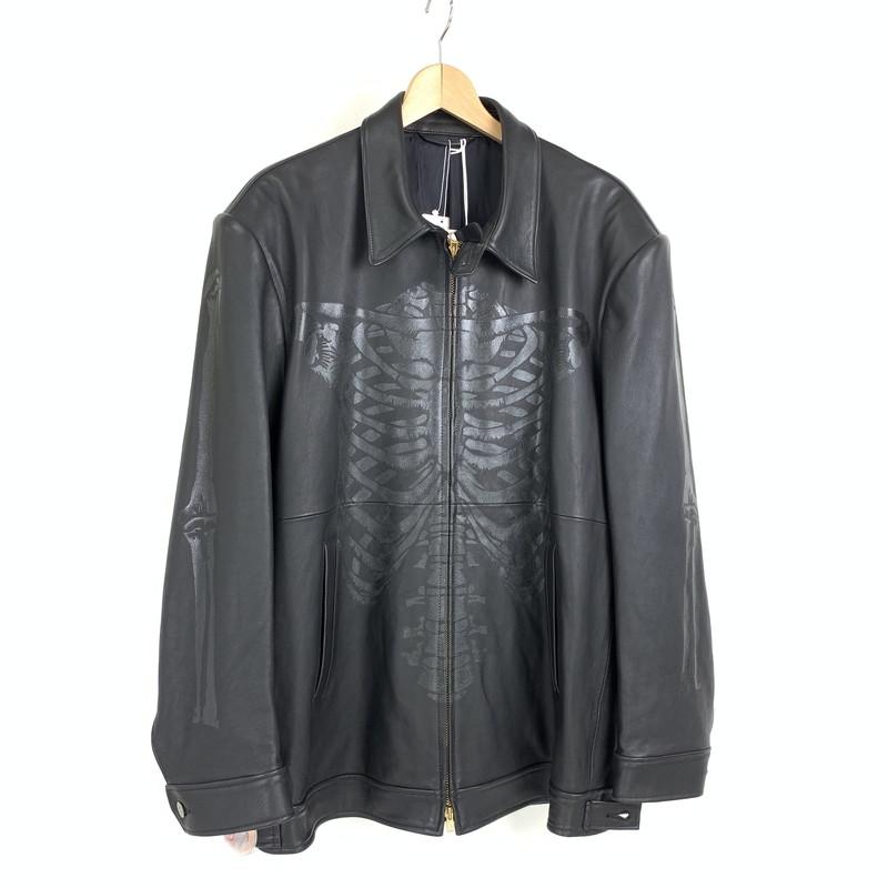 【中古】【未使用品】【メンズ】doublet ダブレット Skeleton Hand-Painted Leather Jacket スケルトン ハンド ペイント レザー ジャケット ジャケット サイズ:M カラー:ブラック 万代Net店
