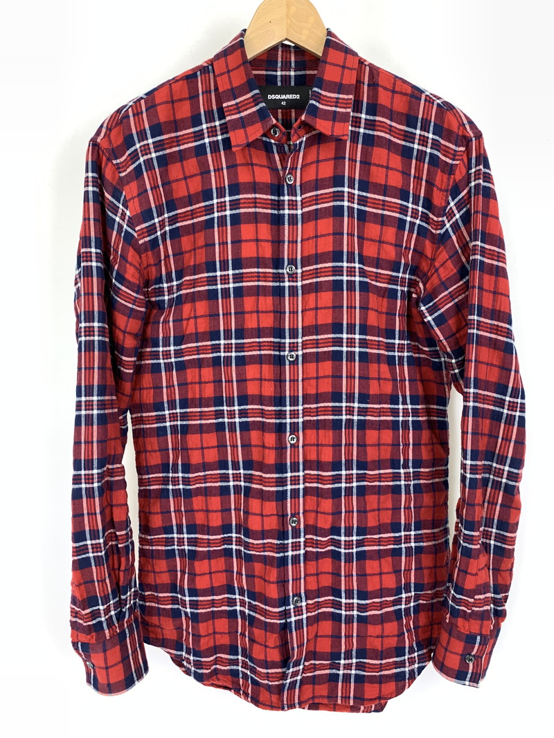 【中古】【メンズ】DSQUARED2 ディースクエアード2 L/S Check Shirt チェック シャツ シャツ サイズ:42 カラー:レッド 万代Net店