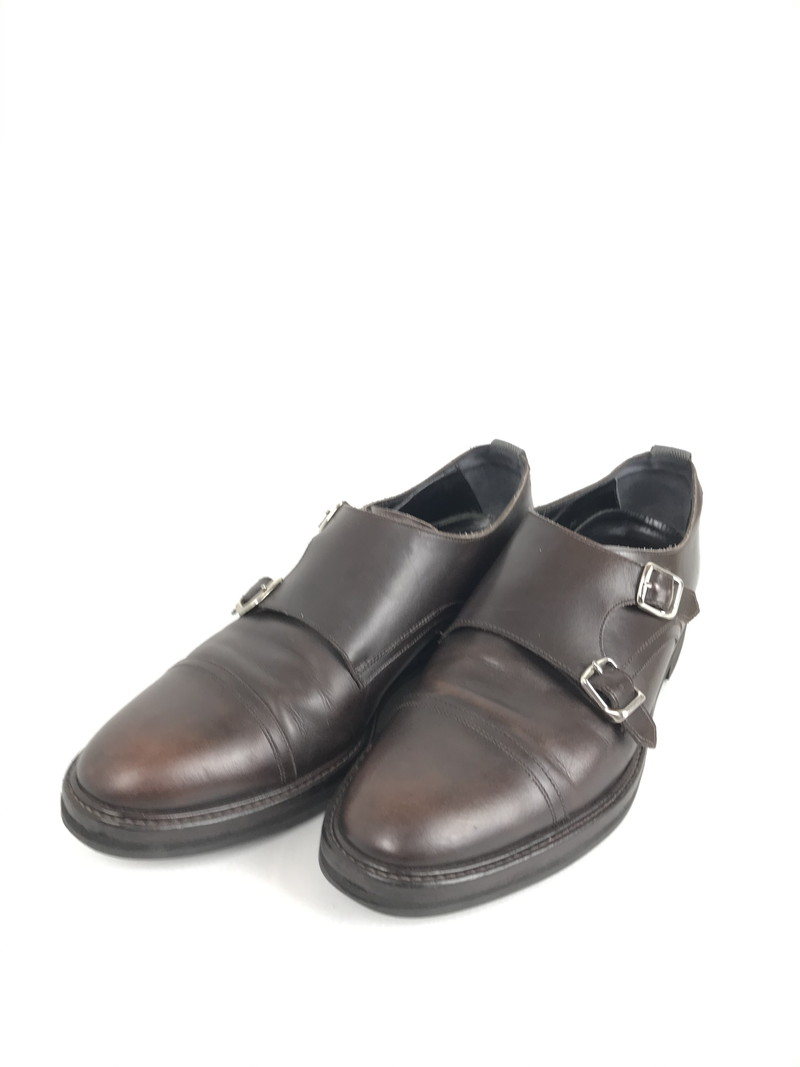 【スーパーセール限定!10%OFF~】【中古】【メンズ】WH ダブルエイチ ダブル モンク ストラップ シューズ ビジネスシューズ 革靴 サイズ:7.5 (25.5cm~26cm) カラー:ブラウン 万代Net店