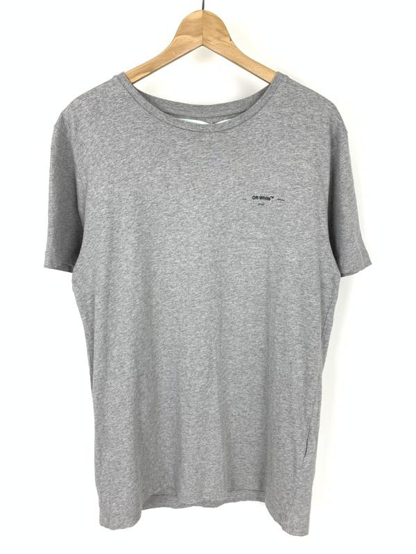 【美中古品】【メンズ】OFF-WHITE オフホワイト 18FW Arrows slim Tee アロー ロゴ Tシャツ 半袖 サイズ:M カラー:グレー 万代Net店