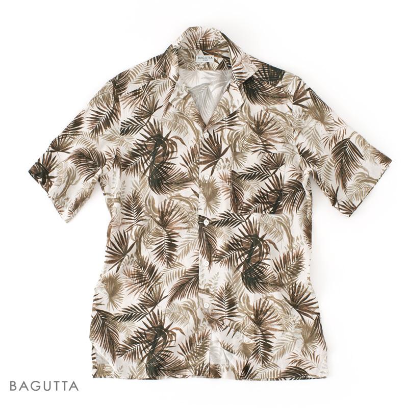 【 SALE40 】BAGUTTA 【バグッタ】 ショートスリーブ ボタニカルプリント オープンカラーシャツ ・mod. MAUI ・art. 07891 ・col. brown (ボタニカル ブラウン) 【春夏】