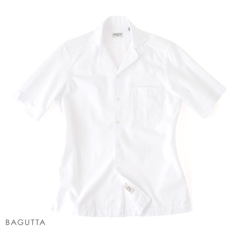 【 SALE40 】BAGUTTA 【バグッタ】 ショートスリーブ Albini ライトスプーニャ オープンカラーシャツ ・mod. MAUI ・art. 07862 ・col. white (ホワイト) 【春夏】