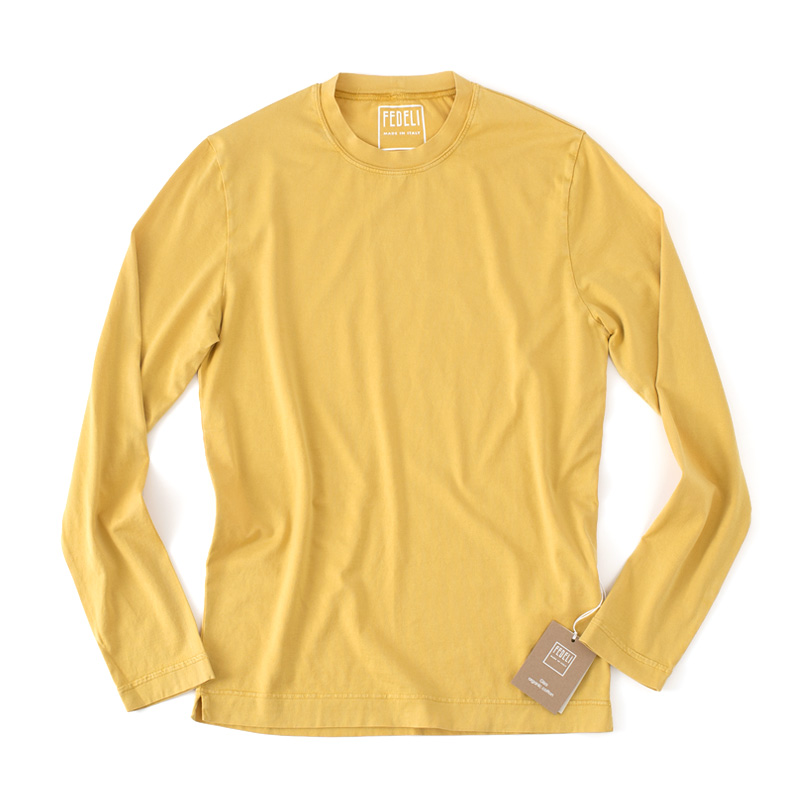 FEDELI 【フェデーリ】 GIZA オーガニックコットン クルーネック ロングスリーブ Tシャツ ・mod. EXTREME ML. JERSEY GIZA ORGANIC ・col. MUSTARD (マスタード) ・made in Italy