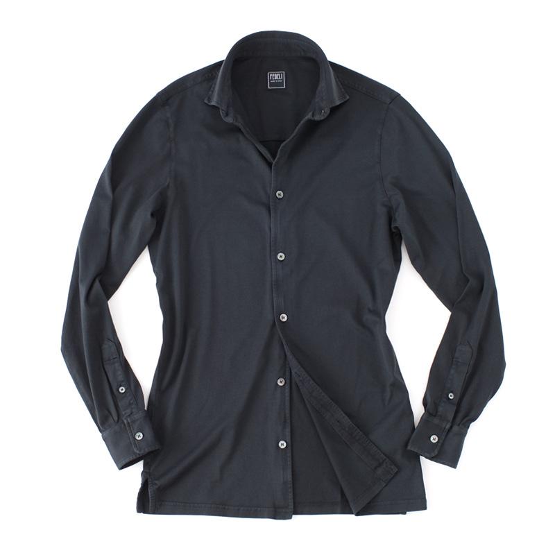 FEDELI 【フェデーリ】 GIZA オーガニックコットン マイクロスムース カットソーシャツ ・mod. JASON ML. JERSEY GIZA ORGANIC ・col. BLACK (ブラック) ・made in Italy