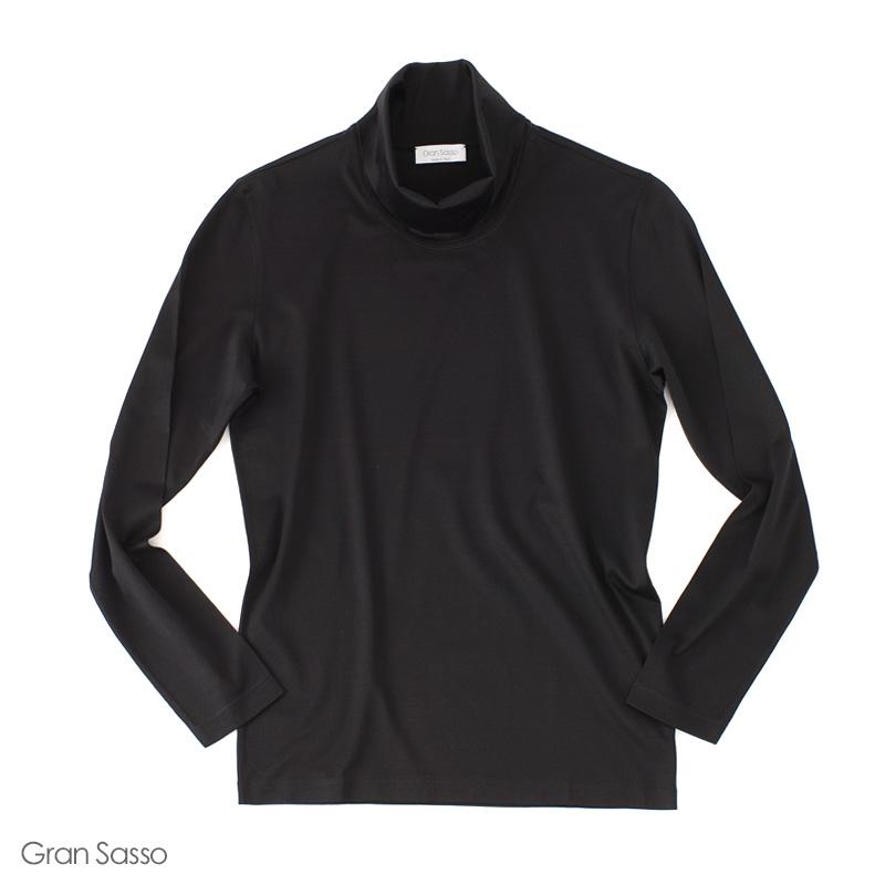 Gran Sasso 【グランサッソ】 マーセライズドコットン オフタートル カットソー ・mod. 60112 ・col. black (ブラック) 【秋冬】