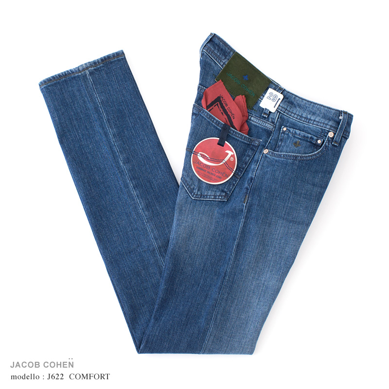 【 SALE30 】JACOB COHEN【ヤコブコーエン】J622 COMFORT ジーンズ ・art. 8315-002 (ブルーデニム / ストレッチ) ・leather patch. クローバーハラコ【国内正規品】