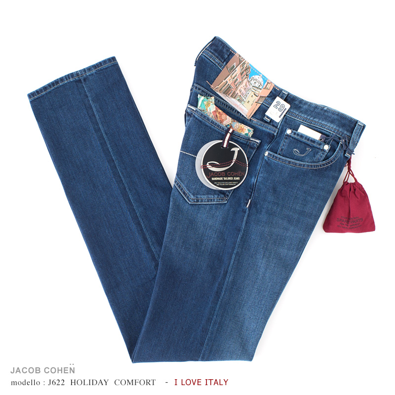 JACOB COHEN【ヤコブコーエン】J622 HOLIDAY COMFORT ジーンズ - ROME - ・art. 06152W1-P003-ROME (ブルーデニム / ストレッチ) ・leather patch. ハンドペイント ローマ【国内正規品】