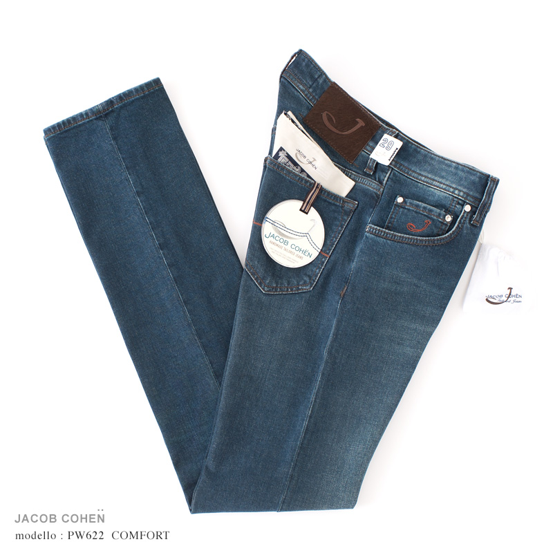 JACOB COHEN【ヤコブコーエン】PW622 COMFORT ジーンズ ・art. 00704W2-002 (ブルーデニム / ストレッチ) ・leather patch. ブラウンハラコ【国内正規品】